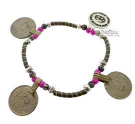 Flip Flop Bracelet Coins Brown