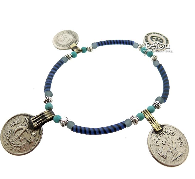 Flip Flop Bracelet Coins Blue