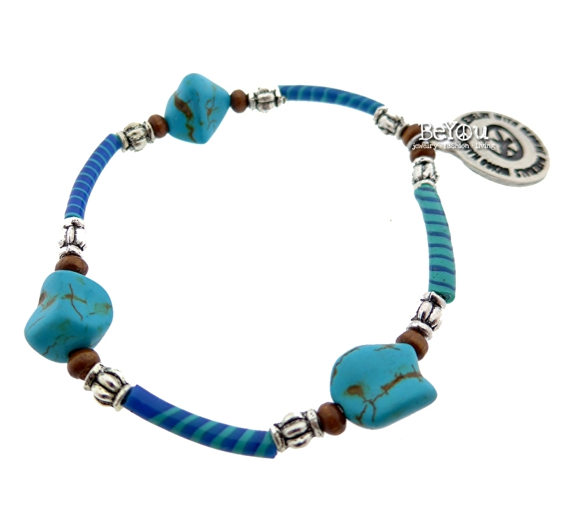 Flip Flop Bracelet Turquoise Beads