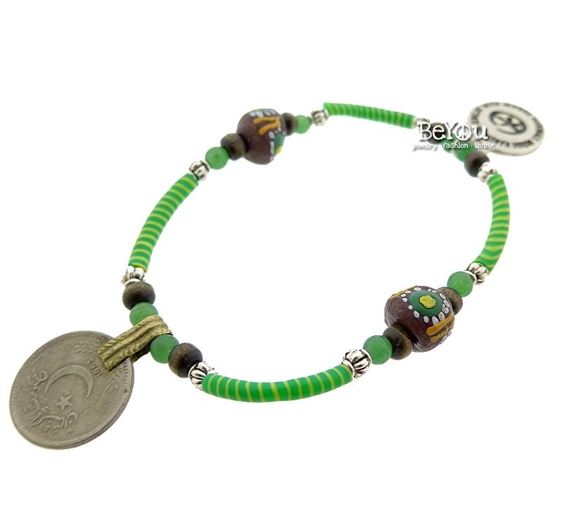 Flip Flop Bracelet Beads 'n Coins Lime