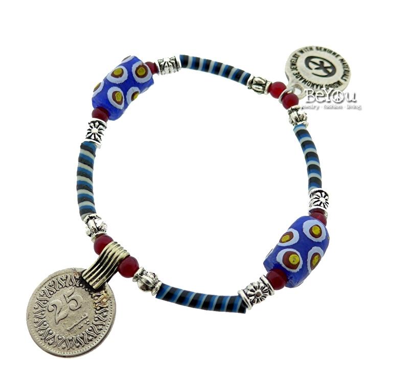 Flip Flop Bracelet Beads 'n Coins Blue