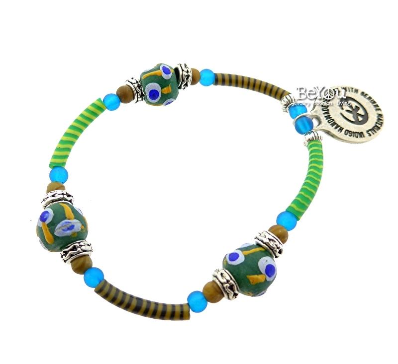 Flip Flop Bracelet African Beads Lime