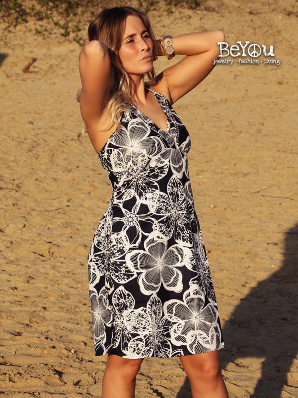 Summer Dress Del Mar Flowers Black