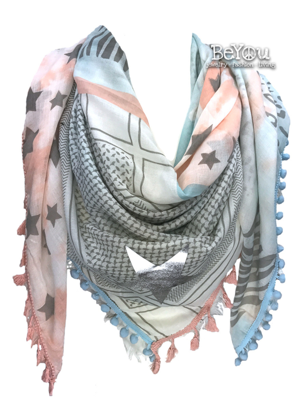 Sjaal Ava Blauw Roze
