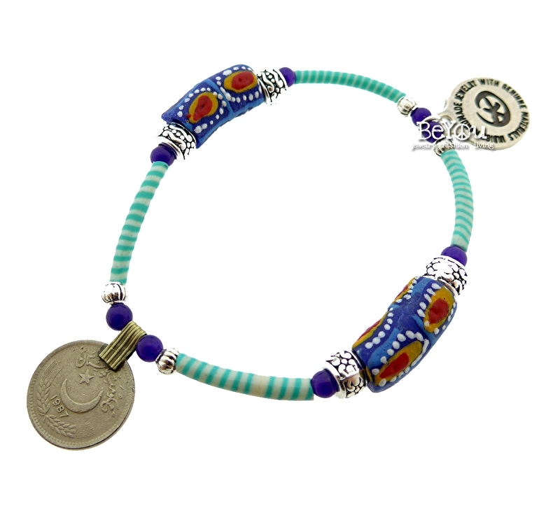 Flip Flop Bracelet Beads 'n Coins Turquoise