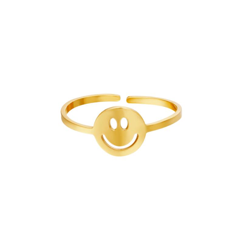 Ring Smiley Goud