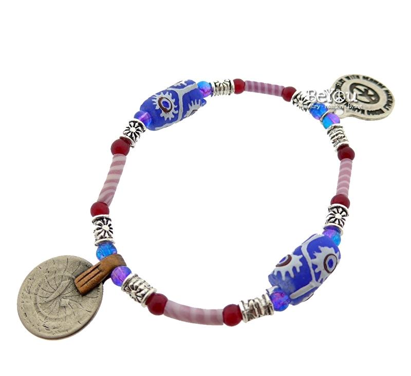 Flip Flop Bracelet Beads 'n Coins Pink Blue