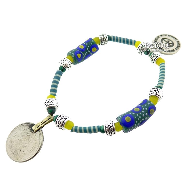 Flip Flop Bracelet Beads 'n Coins Green