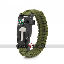 Paracord Polsband met Flint-and-steel & kompas - Olive Drab (P4A842)