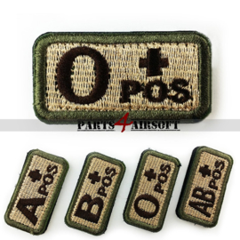 Blood Type patch - O+ pos - Khaki - 5x2,5cm (P4A980)
