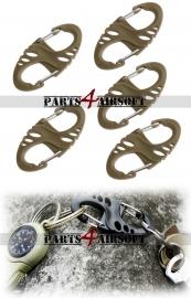 S-Carabiner - 5st - Khaki (P4A551)