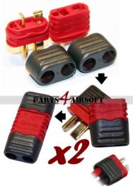 Deans / T-plug Amass Connectors - 2 setjes (2x vrouwtje & 2x mannetje) (P4A770)
