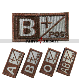 Blood Type patch - B+ pos - Coyote Brown - 5x2,5cm (P4A974)