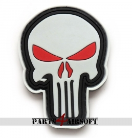 Punisher PVC Patch - 7,5x5,5cm Wit (P4A757)