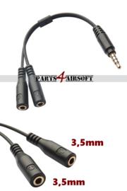 Headset Y-splitter 3,5mm Mic & Ear to 3,5mm TRRS (P4A837)
