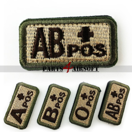 Blood Type patch - AB+ pos - Khaki - 5x2,5cm (P4A979)