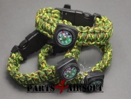 Paracord Polsband met Flint-and-steel & kompas - Jungle (P4A454)