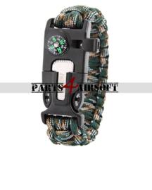 Paracord Polsband met Flint-and-steel & kompas - Jungle Camo (P4A832)