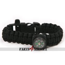 Paracord Polsband met  kompas - Zwart (P4A932)