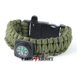 Paracord Polsband met Flint-and-steel & kompas - OD (P4A331)