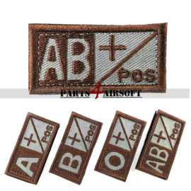 Blood Type patch - AB+ pos - Coyote Brown - 5x2,5cm (P4A975)