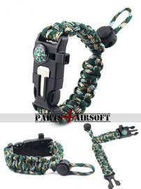 Verstelbare paracord Polsband met Flint-and-steel & Kompas - Jungle Camo (P4A956)