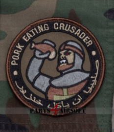 Pork Eating Crusarder Patch - Olive Drab - 8x8cm (P4A946)