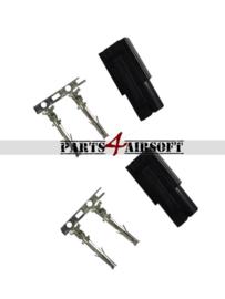 Mini Tamiya stekkers 2x male - Zwart (P4A769