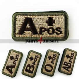 Blood Type patch - A+ pos - Khaki - 5x2,5cm (P4A977)