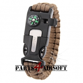 Paracord Polsband met Flint-and-steel & kompas - Coyote Brown (P4A740)