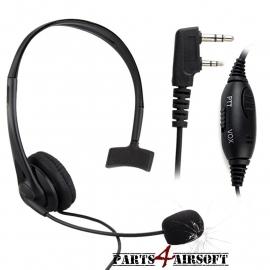 Headset dubbelpins - PTT / VOX (P4A505)