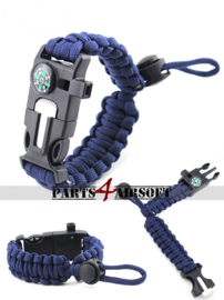 Verstelbare paracord Polsband met Flint-and-steel & Kompas - Navy Blue (P4A958)