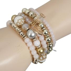 Clayre& Eef Armband Wit Goud Beige