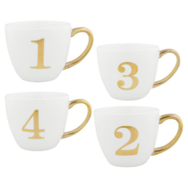 Gate Noir Cup Advent white w/gold set of 4