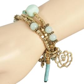 Clayre& Eef Armband Lichtblauw met Goud