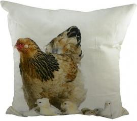 Canvas Sierkussen Hen met Kuikens