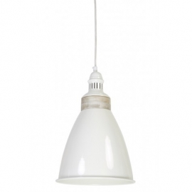Hanglamp Aimy Wit met Hout D 25cm, H 44cm