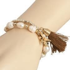 Clayre& Eef Armband Wit met Goud