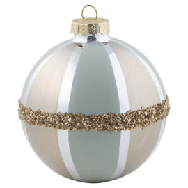 Ball glass pale blue w/gold hanging