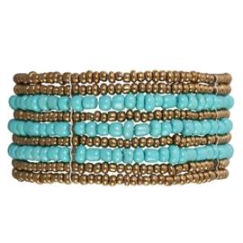 Clayre& Eef Armband Blauw met Bruin