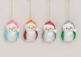 Kerstboom decoratie Uil set van 4