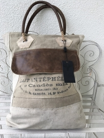 Grote canvas tas met leer Colmore by Diga / Pinelake Lodge