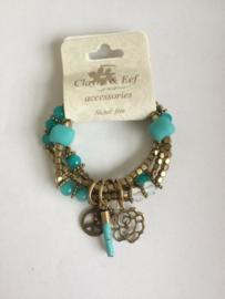 Clayre& Eef Armband Blauw Goud