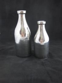 Decoratieve fles zilver klein