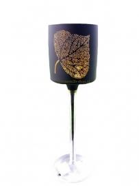 Theelichthouder Leaf Black/gold