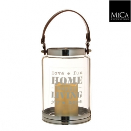 Mica Windlicht transparant zilver met witte battery operated LED kaars