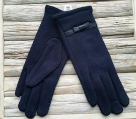 Juleeze Handschoenen Rosary Donkerblauw met strik