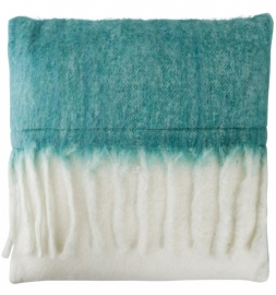 Sierkussen Colmore by Diga Mohair Look White/Ocean Blue