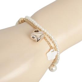 Clayre&Eef Armband Wit met Goudkleur bedeltjes