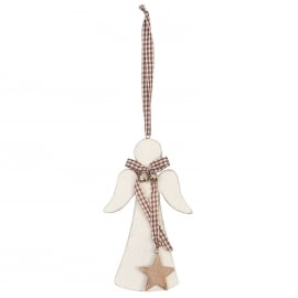 Clayre&Eef | Houten hanger Engel | 9*15 cm| wit